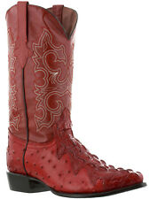 mens red exotic crocodile ostrich western cowboy leather boots rodeo biker new