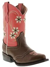 Girls Brown Floral Leather Cowgirl Cowboy Kids Boots Western Riding Snip Toe New