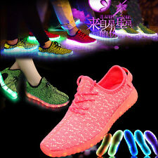 Boys Girls Children LED Light Up Luminous USB Charge Walking Shoes Kids Sneakers