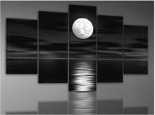 Unframed 5 Pcs Home Decor Abstract Sea Full Moon Night Landscape Oil Painting