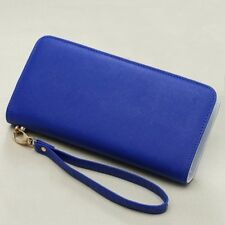 Women Candy Color Pu Leather Long Coin Purse Portable Casual Zipper Wallet
