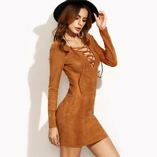 Autumn Long Sleeve Camel Lace Up V Neck Mini Dress For Women