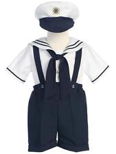 Boys White & Navy Sailor Suit with Hat by Lito Toddler NWT 2T 3T 4T