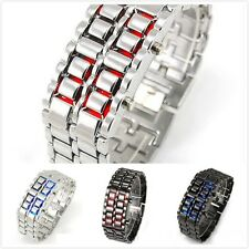 Unique Wrist Watch Lava Iron Samurai Metal LED Faceless Bracelet Wristwatch