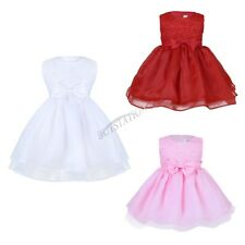Kid Girl Baby Princess Flower Bow Lace Party Christening Occasion Wedding Dress