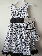 """NWT Matching Dress fits 18"""" Doll Floral black white  6X"""