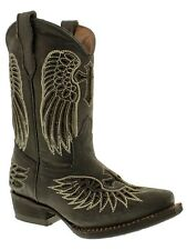 girls kids toddler black western cowboy boots real leather wings cross snip new