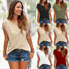 UK Womens Tassels Short Sleeve Loose T-Shirt Summer Casual Ladies Blouse Tops