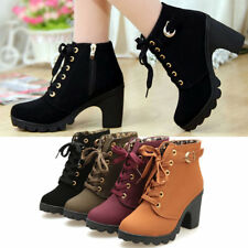 Girl Women High Top Heel Lace Up Buckle Ankle Boots Winter Pumps Suede Shoes XP