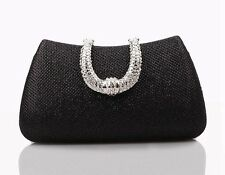 Women Fake Crystal Silver Color Cell Phone Pocket Chain Strap Clutch