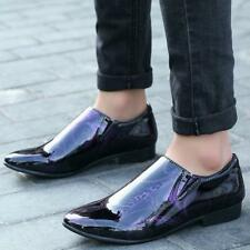 Mens Slip On Loafers Patent Leather Formal Pointed Toe printing wedding Shoes