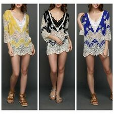 Women Lace Embroidered Deep v-neck Blouse 3/4 Sleeve  Hollow Crochet Top Shirt