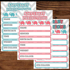 10 X PERSONALISED BABY SHOWER PREDICITION GAME CARDS GIRL BOY ACTIVITY PARTY