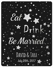 set of Personalized Wine labels Eat Drink and Be Married with silver gold print