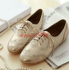 womens ladies oxford flats lace up shoes Brogue Gold silver moccasin comfy shoes