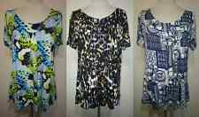 NEW LADIES FLORAL ANIMAL PRINT SMOCK TOP TUNIC PLUS SIZE 10-32