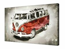 Red VW Camper Van Vehicle Art  ~ Canvas Wall Art Picture Print Framed + Sizes