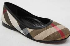 BURBERRY NOVA CHECK CANVAS GIRLS FLAT BALLERINA SHOES 33/1.5