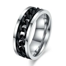 Men's Ring Stainless Steel Spinner Ring Chain Ring-Silver-Gold-Black Size 6-15