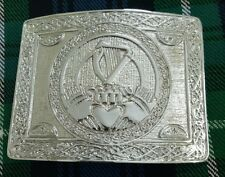 Men's Irish Harp Kilt Belt Buckle Chrome Finish/Claddagh Kilt Belt Buckle Silver
