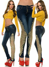 Sexy Women Clubbing Skinny Jeans Ladies Pant Gold Lace size 6 8 10 12 14 Trouser