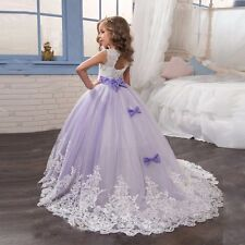 Beading Lace Applique Ball Gown Flower Girl Dress Kids Bridesmaid Wedding Party