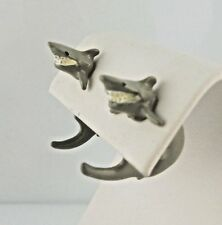 Shark 3D EARlusion brand earrings pewter or hand painted