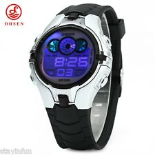 OHSEN AD0739 Children Silicone LED Lights Sports Digital Watch Alarm Date Week