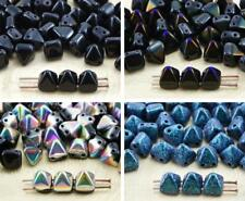 16pcs Opaque Black Small Pyramid Stud 2 Two Hole Czech Glass Beads 6mm