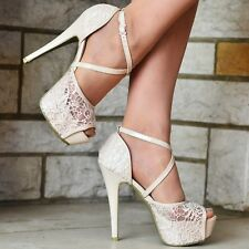 WOMENS NUDE BEIGE LACE PLATFORM HIGH HEEL ANKLE STRAPS PEEP TOE PUMPS SHOES 3-10