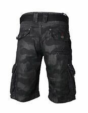 AFFLICTION Men's110WS132 Black Camo Vintage Commando Cargo Shorts + Belt