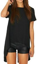 woman's over sized black short sleeved casual going out stylish slit in black.