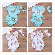Cute Newborn Toddler Baby Girl Clothes Lace Floral Romper Bodysuit Outfits 0-12M
