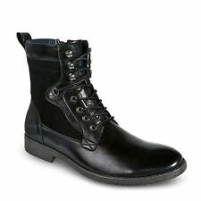Bonafini D-708 Mens Black Lace Up Side Zip Motorcycle Miltary Combat Boots