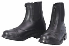 TuffRider Ladies Starter Front Zip Paddock Boots - BLACK Faux Leather Soft Suple