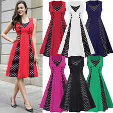 Women's Polka Dot Vintage 1950s Rockabilly Christmas Evening Party Swing Dresses
