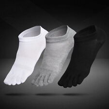 6 Pairs Mens Cotton Toe Five Finger Socks Solid Ankle Sport Breathable Low Cut Q