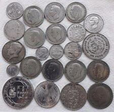 SUPERB   LOT 23 OLD SILVER COINS WORLD SILVER LOT UK   245 GRAM OF SILVER COINS