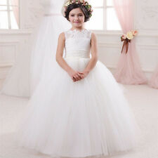 Custom Made Lace Flower Girl Dress Kids Party Dance Prom Pageant Gown Elegant
