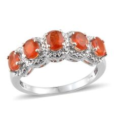 Jalisco Mexican FIRE OPAL 5 Stone RING in Platinum / Sterling Silver 1.15 Cts.
