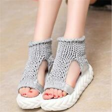 Summer Womens Peep Toe Sandals Shoes Platform Wedges Knitted Slip-on Fashion