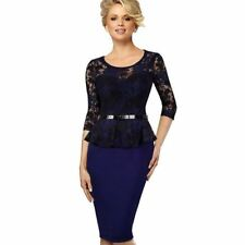 Women Vintage Belted Floral Lace Decorated Round Neck Pencil Dress