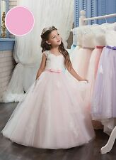Pink Sash Ball Gown Flower Girls kids Party Princess Birthday Prom Pageant Dress