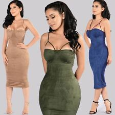 Women Sleeveless Midi Plus Size Deep V-neck Slim Fit  Knee-Length Dress