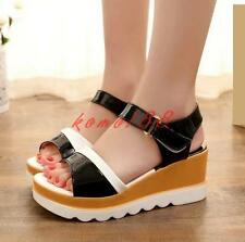 Summer Womens open toe platform wedge heel sandals sling back pump shoes creeper