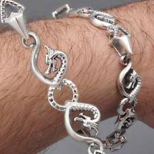 DRAGON SNAKE ART CHAIN HANDMADE MENS BRACELET 925 STERLING SILVER 8 8.5 9 9.5""