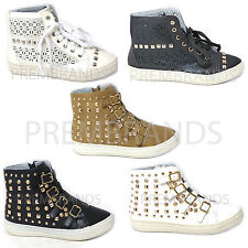 LADIES WOMENS FASHION LACE UP STUDDED HI TOP ANKLE TRAINERS BOOTS SHOES UK 3-8