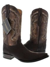 mens brown real stingray skin diamond stone leather western cowboy boots pointed
