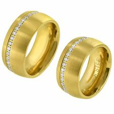 Stainless Steel Men Women Engagement Ring Band Silver / Gold Finish Size 6 - 9