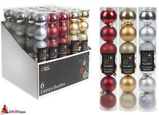 Christmas Tree Decorations - Set 6 Luxury Baubles - Glitter Shiny & Matt Finish